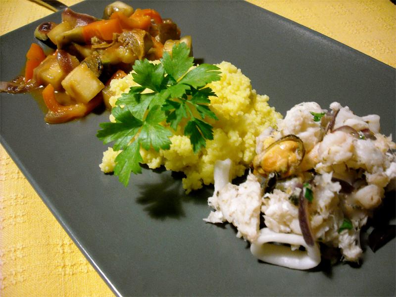 Cous Cous di pesce con verdure saltate